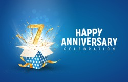 7 th years anniversary banner with open burst gift box. Template seventh birthday celebration and abstract text on blue background vector illustration