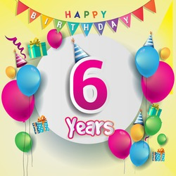 6th years Anniversary Celebration, birthday card or greeting card design with gift box and balloons, Colorful vector elements for the celebration party of six years anniversary.