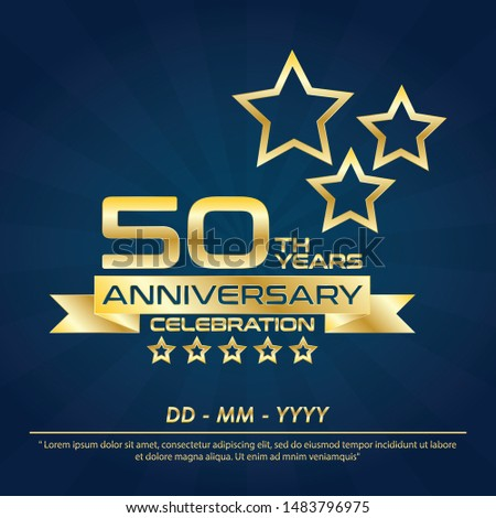 50th years anniversary celebration emblem ,anniversary logo with elegance golden and star design for web, game, creative poster, booklet, leaflet, flyer, magazine, greeting card and invitation card