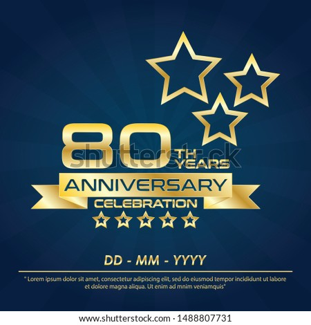80th years anniversary celebration emblem ,anniversary logo with elegance golden and star design for web, game, creative poster, booklet, leaflet, flyer, magazine, greeting card and invitation card