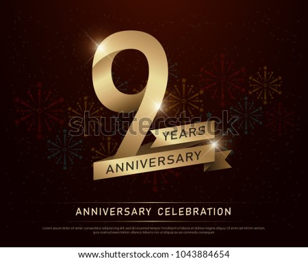 9th years anniversary celebration gold number and golden ribbons with fireworks on dark background. vector illustration