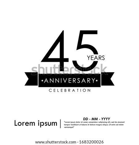 45th years anniversary celebration logotype with black and white stamp isolated, vector illustration template design for for web, flyers, leaflet, brochure, poster, invitation card or greeting card Photo stock ©