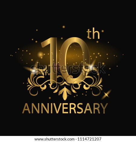 10th years anniversary celebration. 10th anniversary logo with gold color, foil, sparkle #1114721207