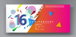 16th years anniversary logo, vector design birthday celebration with colorful geometric background and circles shape.