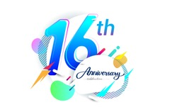 16th years anniversary logo, vector design birthday celebration with colorful geometric background, isolated on white background.