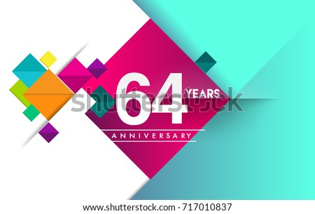 64th years anniversary logo, vector design birthday celebration with colorful geometric background and circles shape.