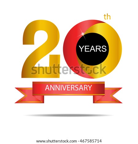 20th years anniversary sign label and symbol in gold and red stock vector illustration - Th anniversary symbol ...