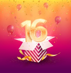 16 th years anniversary vector design element. Isolated sixteen years jubilee with gift box, balloons and confetti on a bright background.