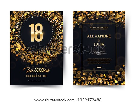 18th years birthday vector black paper luxury invitation double card. Eighteen years wedding anniversary celebration brochure. Template of invitational for print on dark background with bokeh lights  Сток-фото ©