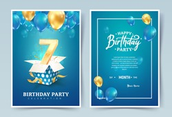 7th years birthday vector invitation double card. Seven years anniversary celebration brochure. Template of invitational for print on blue background