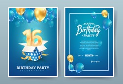 16th years birthday vector invitation double card. Sixteen years anniversary celebration brochure. Template of invitational for print on blue background
