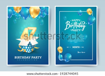 47th years birthday wedding vector invitation double card. Forty seven years anniversary celebration brochure. Template of invitational for print on blue background Stockfoto ©