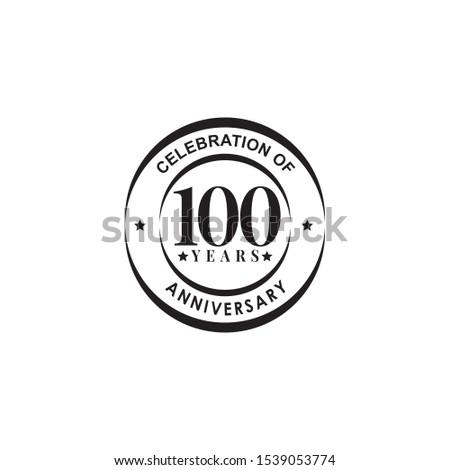 100th years celebrating anniversary emblem logo design vector template