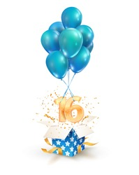 16th years celebrations. Greetings of sixteen birthday isolated vector design elements. Open textured gift box with numbers and flying on balloons