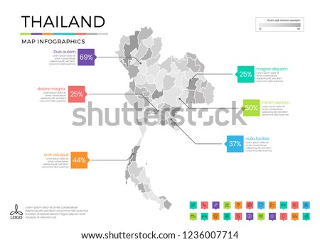 Thailand map infographics with editable separated layers, zones, elements and district area in vector