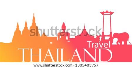 Thailand Travel Landmarks - Travel Thailand  Text  - Banner modern Idea and Concept - Vector