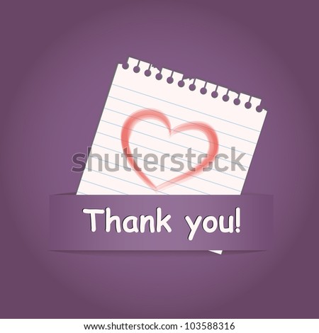 """Thank you"" a greeting card with heart on paper note"