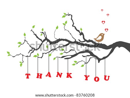 'Thank you' greeting card with bird. Vector illustration.
