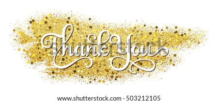 """Thank you"" vector icon on gold glitter"