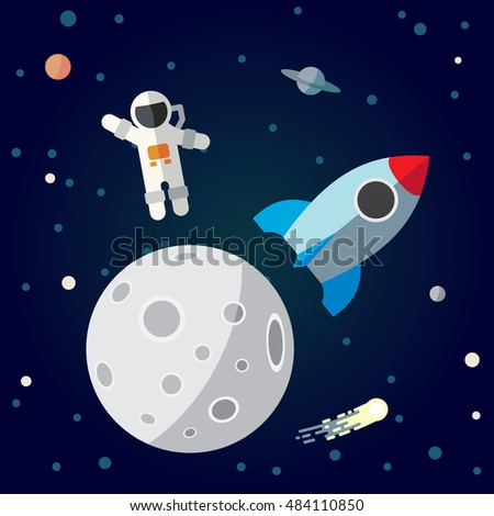 the astronaut and rocket on