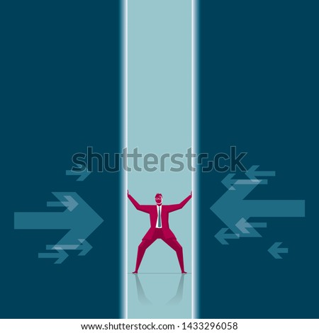 The businessman was squeezed. Isolated on blue background. Stockfoto ©