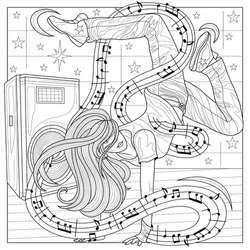 The dancer is standing in her arms and the notes are around her.Coloring book anti stress design for children and adults. Illustration isolated on white background. Hand draw Zen-tangle style.