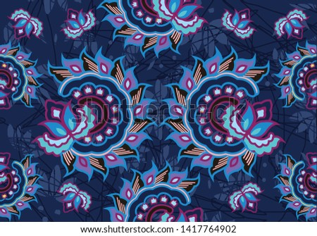 The design of Indonesian motif batik with a very distinctive ornament, patterned on the basis of flora