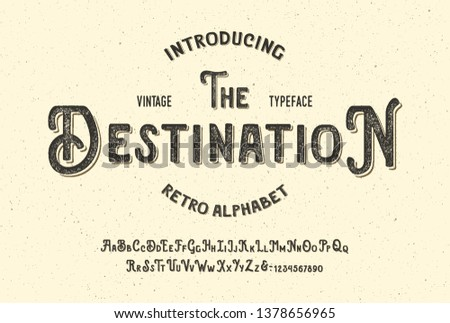 """The Destination"". Handmade Modern Font Duo. Textured Version With Shadow Text Effect. Retro Typeface. Vector"