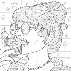 The girl is eating a cupcake.Coloring book antistress for children and adults. Illustration isolated on white background.Zen-tangle style. Hand draw