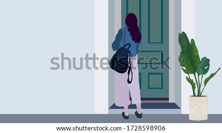 The girl stands at the door with a briefcase on her back. Empty wall door and flowerpot with a plant. The end of the quarantine, and the girl wants to open the door and going out. Young woman student