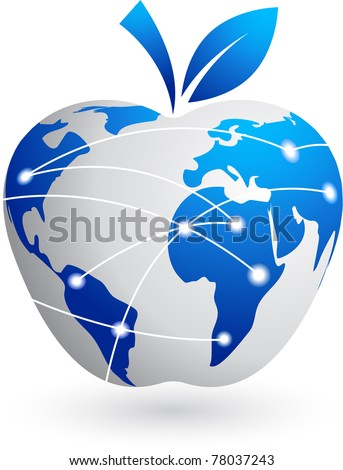 The global village - technology abstract apple