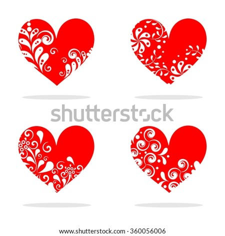 the illustration - set of hearts - on a theme of love and Valentines Day.  - Shutterstock ID 360056006