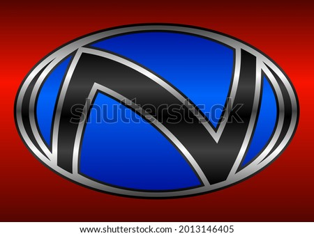 The letter N logo is located in an oval shape, suitable for car or automotive logos Stock fotó ©