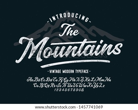 """ The Mountains"". Vintage Brush Script Modern Alphabet. Retro Typeface. Vector"