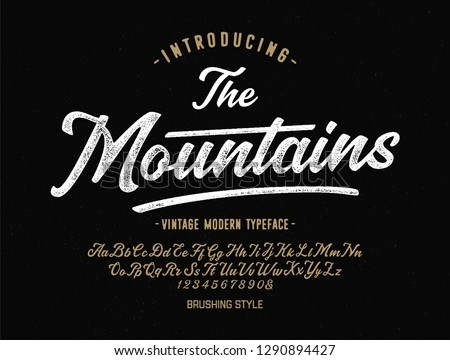 """The Mountains"". Vintage Brush Script Modern Alphabet. Retro Typeface. Vector Font Illustration. Vector"