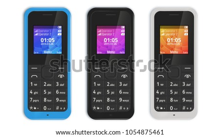 The picture shows phone 2015 released. Mobile Phone with buttons isolated on white background. Vector illustration.