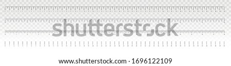 The release of the ruler. Measurement scale, markup for a ruler. Measuring tool. Metric inch size indicators. Size indicator units. Vector illustration.  Foto stock ©