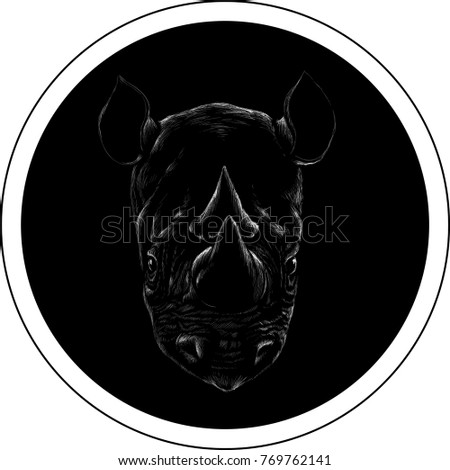 The Vector logo rhinoceros for T-shirt design or outwear.  Hunting tattoo rhinoceros  style background.