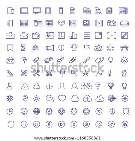 100 Thin Business Icon Set. Flat icon set