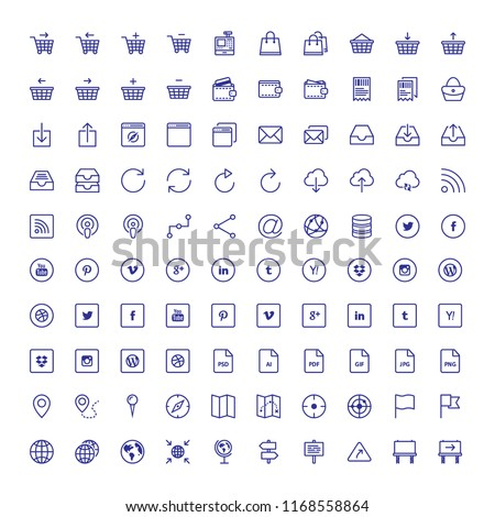 100 Thin Business Icon Set. Flat icon set