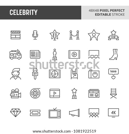 30 thin line icons associated