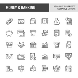 30 thin line icons associated with money and banking. Symbols such as money related items, banking and financial are included in this set. 48x48 pixel perfect vector icon with editable stroke.