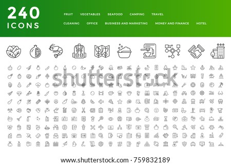 240 Thin Line Icons Collection. Fruit, Vegetables, Seafood, Camping, Travel, Cleaning, Office, Money and Finance, Business and Marketing, Hotel. #759832189
