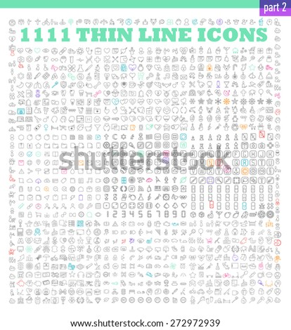 1111 thin line icons exclusive XXL icons set. Universal interface, navigation, people, family, baby, medicine and healthcare, holidays, Christmas, Valentines Day and many other miscellaneous icons Stockfoto ©