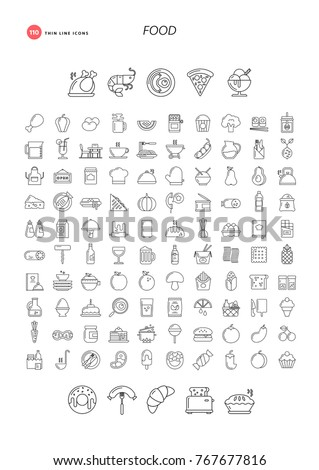 110 thin line icons. Food, drink, restaurant, cooking and more.