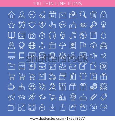 100 thin line icons for Web and Mobile. Dark version.