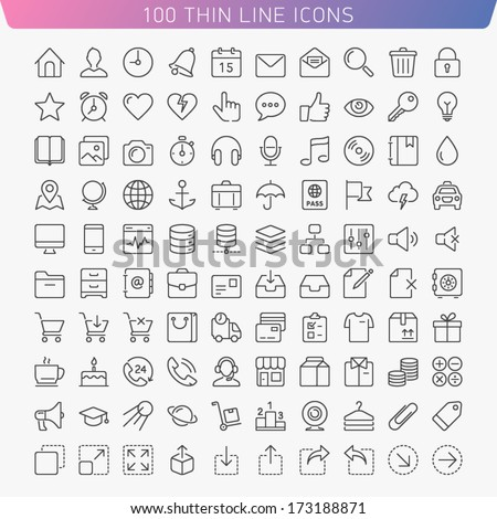 100 thin line icons for web and