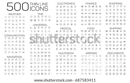500 thin line icons set of medical, multimedia, finance, food, arrows, shopping, shipping, documents, weather and navigation