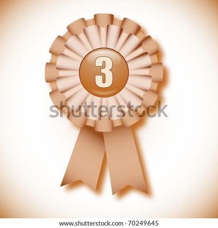 """Third place"" decoration cockade, vector illustration"