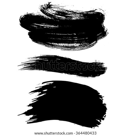 Three Brush Strokes, hand painted vector elements
